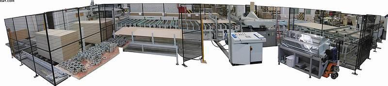Линия для раскроя плит на полосы и их последующей загрузки в продольно-фрезерный станок