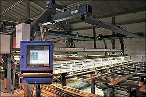 Сканер FinnScan на линии сортировки сырых пиломатериалов Heinola
