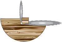 Рис. 1. Схема работы углопильного бревнопильного станка