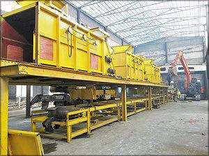 Установка оборудования участка формирования трехслойного ковра плиты