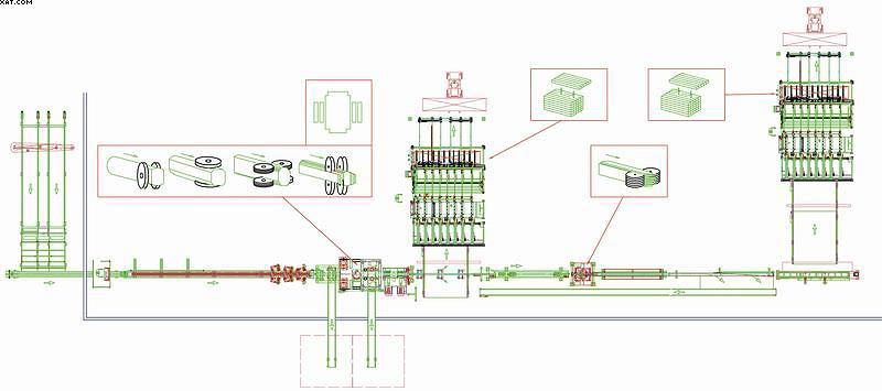 Пример конфигурации лесопильной линии с фрезерно-профилирующей технологией пиления Canter Group