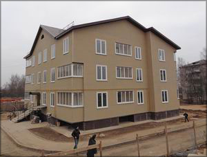 Рис. 4. Трехэтажный дом атриумного типа на 18 квартир в г. Торжке Тверской области