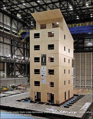Рис. 2. Здание из CLT на при испытаниях на сейсмоустойчивость