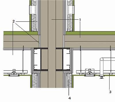 Пример соединения конструкций внутренних стен и перекрытий