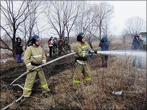 «Тренировочное» загорание сухой травы ликвидировали в с. Валдгейм ЕАО