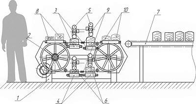 Рис. 3. Схема станка для работы методом пиления второй ветвью ленточной пилы (из патента «Ленточнопильный станок, RU 2547551»)