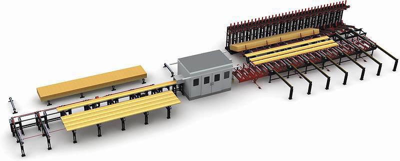 Автоматизированная линия для производства клееных балок из бруса LVL