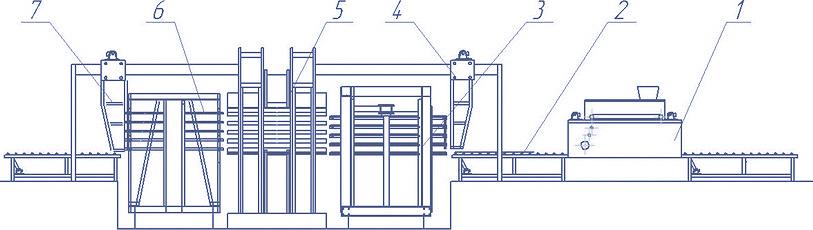 Рис. 1. Общий вид и схема линии прессования на поддонах с 5-этажным прессом производительностью 10,0 тыс. м3 в год