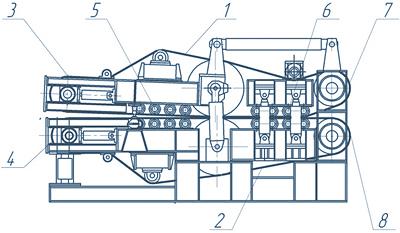 Рис. 4. Общий вид и схема ленточно-валкового пресса