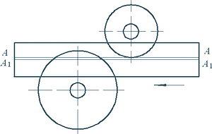 Рис. 3. Схема пиления бревен на двухвальном круглопильном станке