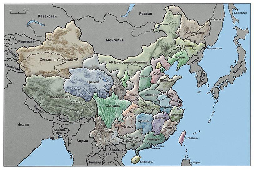 Рис. 1. Карта провинций Китая