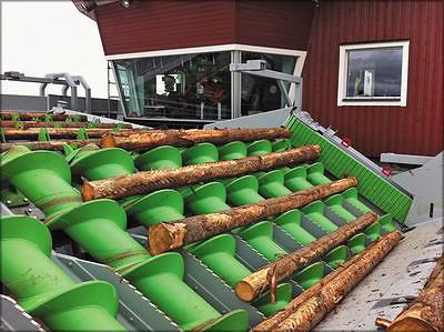 Рис. 18. Шнековый конвейер Springer на лесопильном заводе компании SCA в г. Тунадаль, Швеция. Сбоку установлен ограждающий ленточный конвейер, который обеспечивает правильное, без перекосов, движение выровненных торцами бревен по шнековому конвейеру