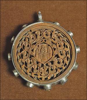 XVII век. Икона-мощевик. Деисус с избранными святыми (кипарис, серебро)