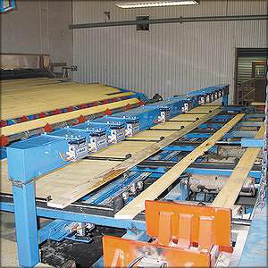 Рис. 9. Система 3D-сканирования BoardProfiler фирмы LIMAB в комбинации с системой позиционирования пиломатериала перед триммером