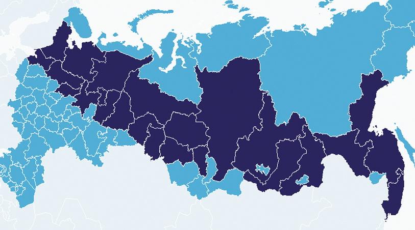 Рис. 1. Распределение основных объемов лесных ресурсов в России