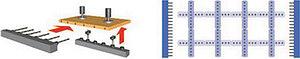 Рис. 1. Принцип работы многошпиндельного сверлильного станка с двумя сверлильными головками