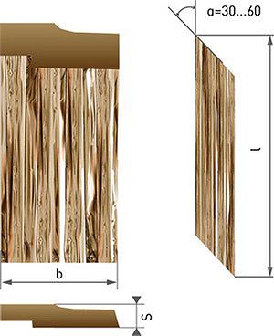Рис. 2. Геометрические параметры щепы: l – длина, b – ширина, s – толщина, α – угол среза