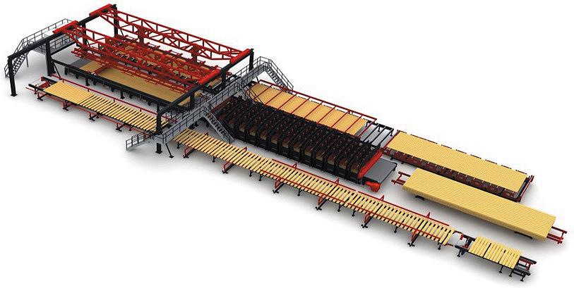 Рис. 1. Прессование плит CLT размером 20 x 6 м
