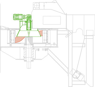 Распределение потока материала равномерно по ширине ножевого кольца в стружечном станке Maier