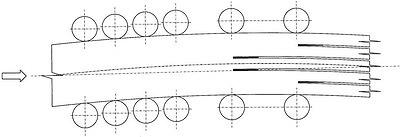 Рис. 2. Подача криволинейного бруса на бревнопильный станок второго ряда