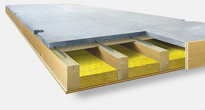 Рис. 7. Строение деревянно- бетонного элемента ERNE с минераловатным материалом для изоляции шума
