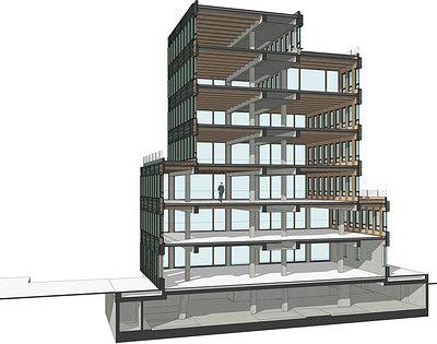 Рис. 9. Разрезы здания Н7 в г. Мюнстер (ФРГ)