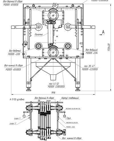 Рис. 8. Станок перспективной модели М2005 (в сборе). На виде «А» показан пример натяжения полотен подъемом верхнего вала с помощью рычагов с грузами