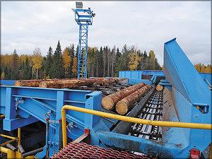 Подача бревен на линию лесопиления