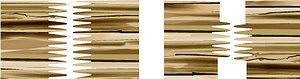 Рис. 1. Расположение и примерные профили зубчатых вертикальных и горизонтальных шипов
