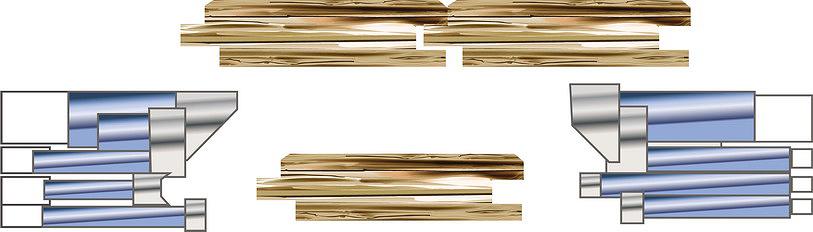 Рис. 1. Комплект напайных составных фрез для штучного паркета с фаской на лицевой поверхности