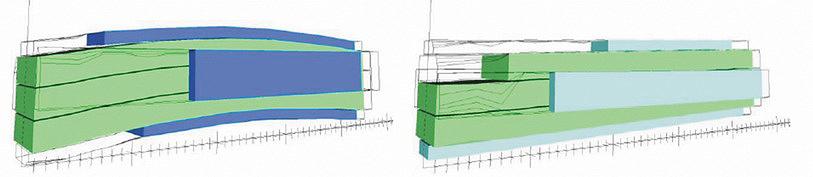 Рис. 5. Схема раскроя бревна диаметром 240 мм по технологии криволинейного пиления (а) и вдоль центральной оси (б)