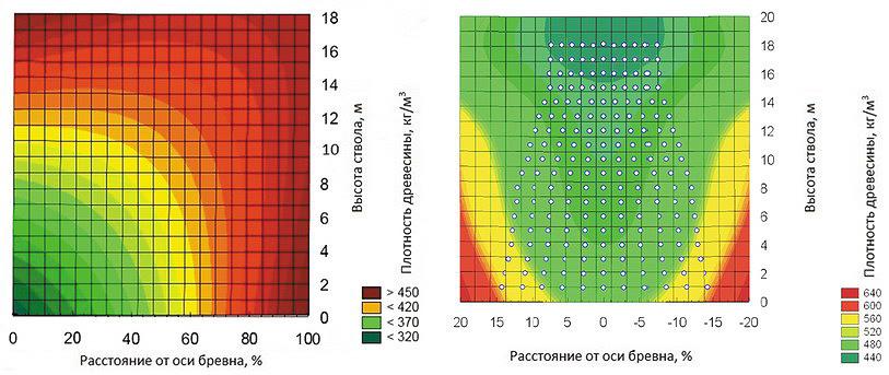 Рис. 7. Распределение плотности в стволе древесины ели (а) и сосны (б), приведенной к 12% влажности, кг/м3