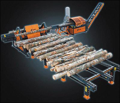 Рис. 3. Дровокольная линия SAMI Autofactory: механизированный накопитель, устройство поштучной выдачи, подающий конвейер, станок, конвейер для поленьев