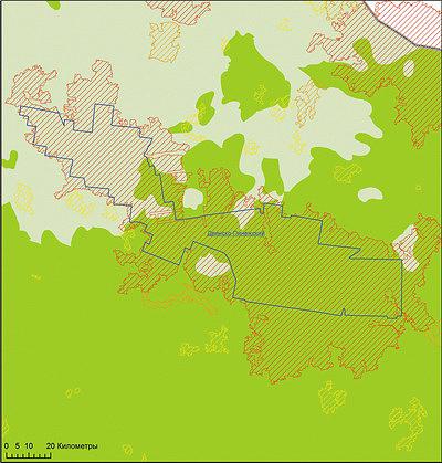 Рис. 2. Пример объекта национального лесного наследия I приоритета (МЛТ) в северо-восточной части Архангельской области (зоны северо- и среднетаежных лесов
