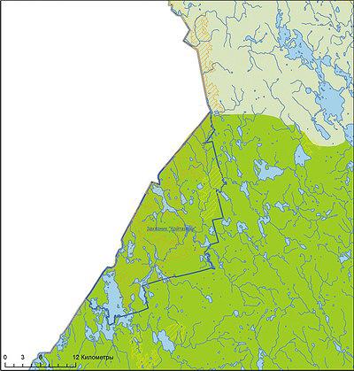 Рис. 3. Пример объекта национального лесного наследия II приоритета (МЛМ) в средней части Республики Карелия (зона среднетаежных лесов)