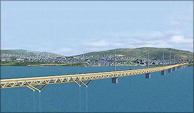 Рис. 12. Мост через оз. Мьеса (трехмерная модель)