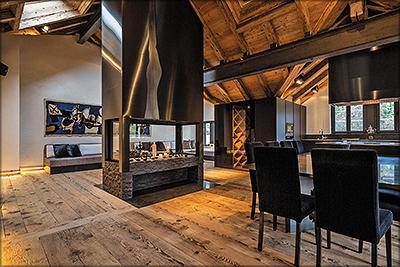 Рис. 2. Шале, в интерьере и конструкции которого старая древесина гармонично сочетается с современными материалами