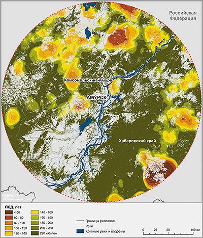 Карта расчетной периодичности смены древостоев в лесах в 200-километровой зоне вокруг г. Амурска