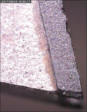 Аварийный износ алмазного зуба пилы