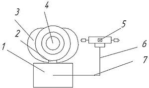 Рис. 6. Схема установки для дефектоскопии круглых лесоматериалов, вид сзади