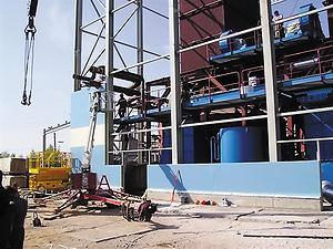 Рис. 4. Монтаж котельной установки BioEnergy 2x17+9 в Онеге