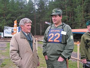 Директор Борисово-Судского лесхоза Н. А. Суворов со своим лесничим за минуту до старта соревнования