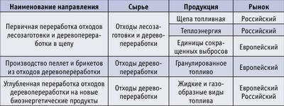 Таблица. Основные направления развитияотечественной биоэнергетики