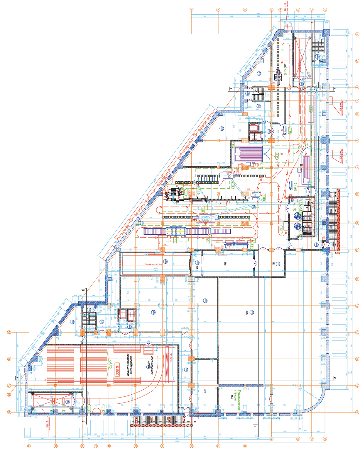 План одного из этажей, где разместятся деревообрабатывающие, металлообрабатывающие и прочие мастерские, разработанные ГК «Глобал Эдж»