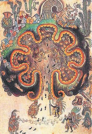 Семь пещер прапредков в виде мирового древа. Оно, по представлениям майя, связывало подземный мир с миром верхним