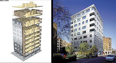 Рис. 5. Девятиэтажное деревянное здание, построенное по панельной технологии, Лондон