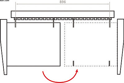 Принцип поворота заготовок при двухстороннем сверлении отверстий в кромках заготовок на станке с 29 шпинделями и без удаления сверла