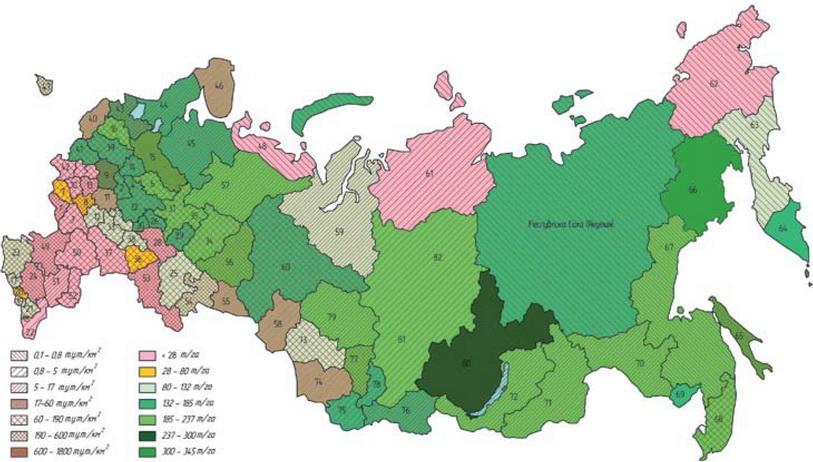 Рис. 1. Запасы ресурсов биомассы и уровень потребления всех видов топлива и энергии на единицу общей площади территории