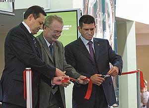Церемония открытия. На фото (слева направо) Эдхам Акбулатов,  Олег Дзидзоев и Николай Зайкин