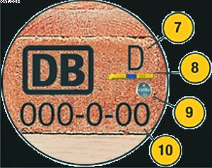 Рис. 1. Маркировка EPAL: 7 – страна-производитель, 8, 9 – чип EPAL, 10 – номер поддона